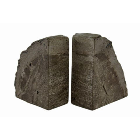 Indonesian Brown / Gray Petrified Wood Bookends 4-6 Pounds