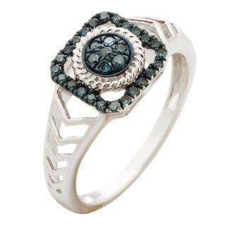 Superb 0.18Ct Round Brilliant Cut Blue Color Traterd Diamond Designer Engagement Ring