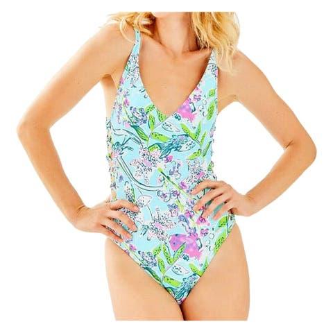 Lilly Pulitzer Women's Swimwear Blue Size 6 One-Piece Floral Strappy