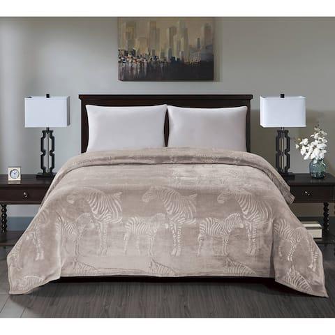 Zebra Embossed Blanket King Ivory