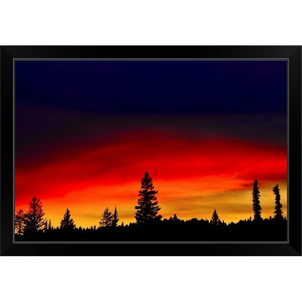 """""""Yellowstone Lake to take pictures of almost full moon rising over lake."""" Black Framed Print"""