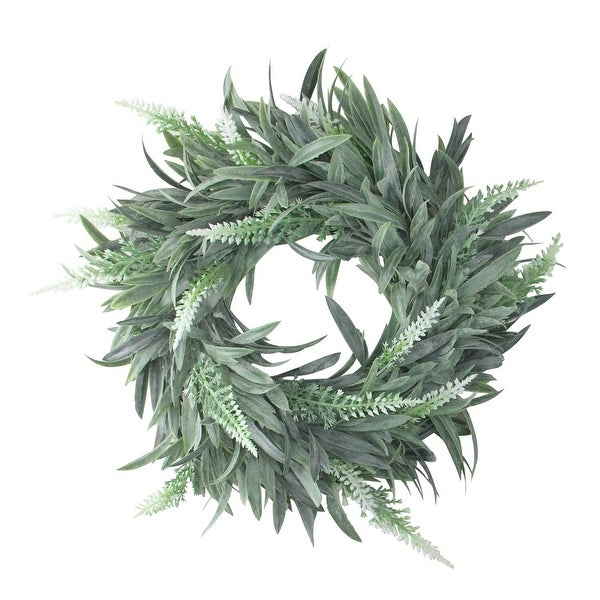 "10"" Artificial Dusty White Decorative Springtime Wispy Lavender Wreath"
