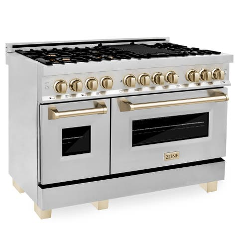 """ZLINE Autograph Edition 48"""" Dual Fuel Range with in Stainless Steel with Accents"""