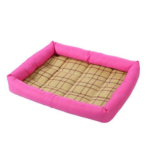 Pet Dog Cat Indoor Bamboo Carpet Summer Sleeping Bed Cushion Mat (Fuchsia, M) - FUCHSIA