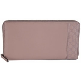 New Gucci Women's 338598 Light Pink Leather GG Guccissima Zip Around Wallet