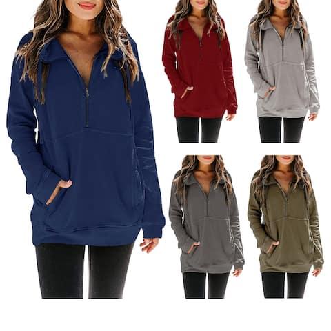 Haute Edition Women's Half Zip Slouchy Pullover Sweatshirt with Plus