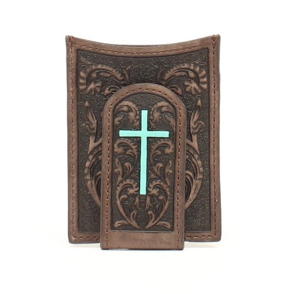 Ariat Western Wallet Men Money Clip Cross Magnetic Brown Turq - One size