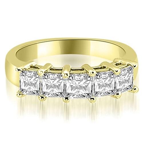 2.00 cttw. 14K Yellow Gold Princess Diamond 5-Stone Prong Wedding Band,HI,SI1-2