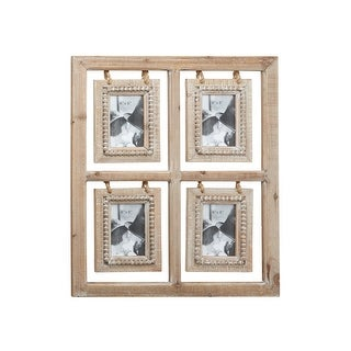 "Link to 22.5"" x 26.5"" Large Rectangular Natural Wood Collage Picture Frame w Decorative Wood Bead Detail Similar Items in Decorative Accessories"