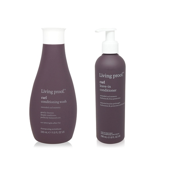 Living Proof Curl Conditioning Wash 11.5 Oz and Curl Leave In Conditioner 8 Oz 2 pack
