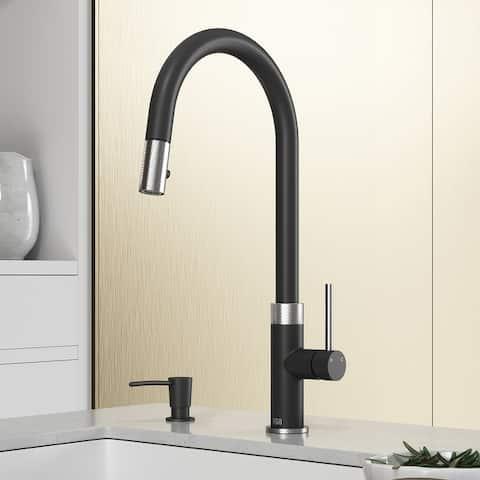VIGO Bristol Pull-Down Kitchen Faucet with Soap Dispenser in Stainleess Steel