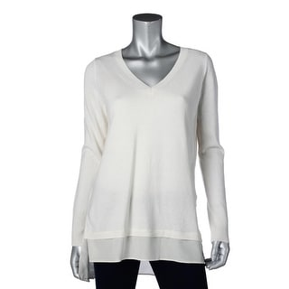 Vince Womens Wool Silk Trim V-Neck Sweater - XS