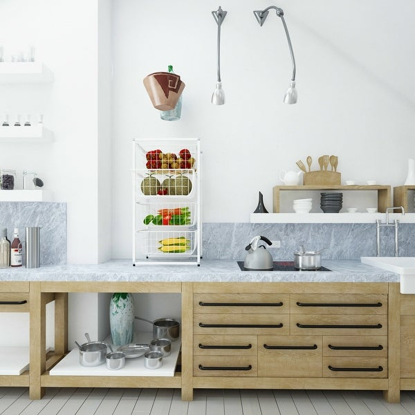 Kitchen Storage Cart with 4 Removable Baskets