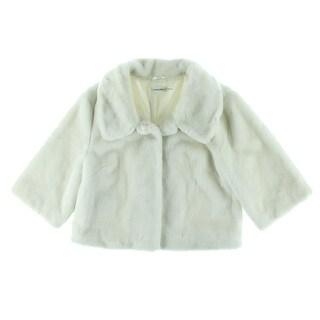 Calvin Klein Womens Modal Blend Faux Fur Cropped Jacket - L