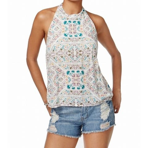 Roxy Top White Ivory Size Small S Junior Halter Open-Back Printed