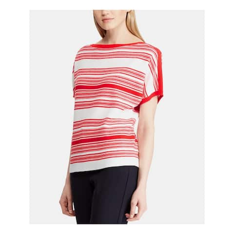 RALPH LAUREN Womens Red Striped Boat Neck Top Size S