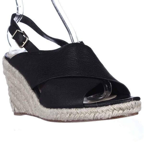 Via Spiga Rosette Esapdrille Slingback Sandals, Black Leather