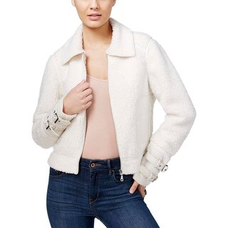 Guess Womens Nell Basic Jacket Leather Trim Faux-Fur Contrast