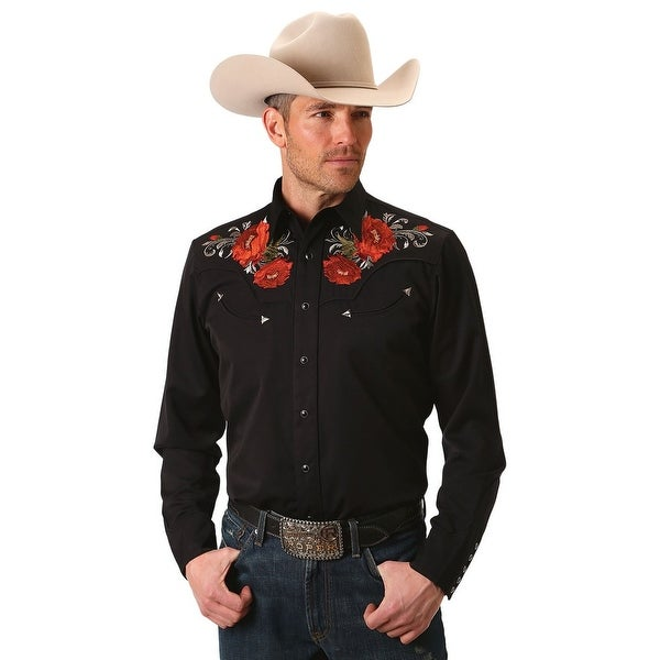 e30dcb0ab53 Shop Roper Western Shirt Mens L S Cactus Flower Black 03-001-0040-0686 BL -  Free Shipping Today - Overstock - 18416244