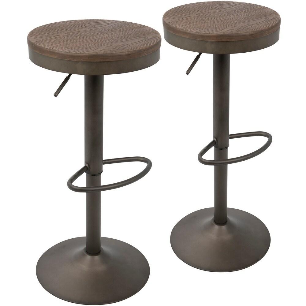 Carbon Loft Goddard Industrial Adjustable Barstool (Set of 2) (Antique Metal/Brown Wood)