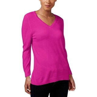 Karen Scott Womens Pullover Sweater Knit V-Neck