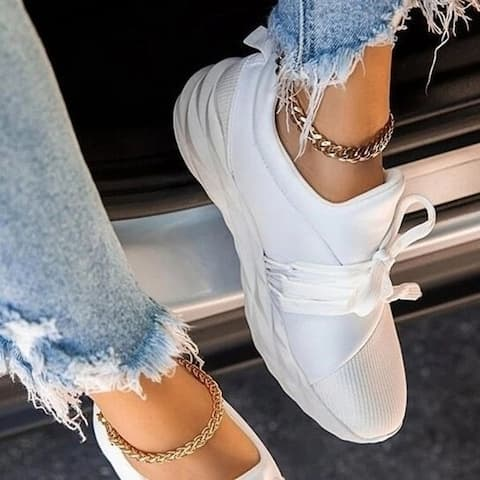 Angular Lace-Up Sneakers, Multiple Colors