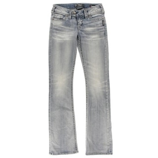 Silver Womens Bootcut Jeans Low Rise Stretch - 24