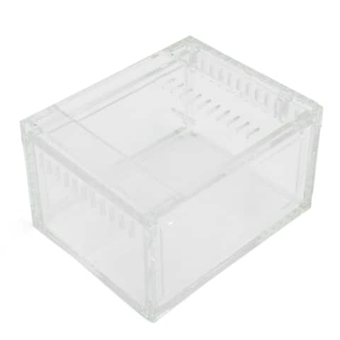 "Clear Acrylic Assembled Feeding Box Small Reptiles Crawlers House 4.1""x3.3""x2.4"""