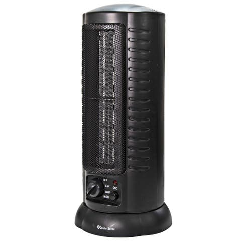 Comfort Zone CZ488 1500 Watt Mini Oscillating Ceramic Tower Heater, Black