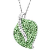 Crystaluxe Leaf Pendant with Swarovski Crystals in Sterling Silver - Green