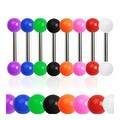 Grade 23 Solid Titanium Barbell with Solid Colored UV Ball (Sold Individually) - 14 GA - (6mm Ball) - Thumbnail 0