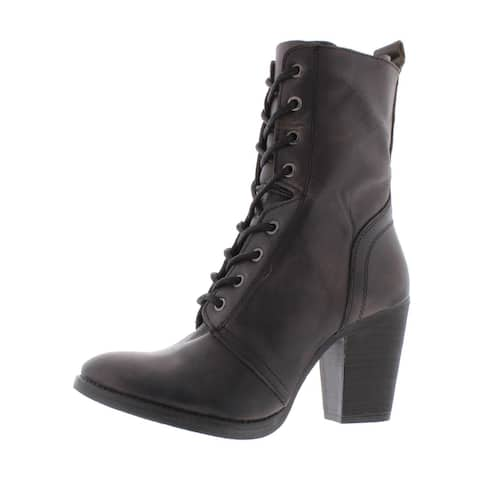 Steve Madden Womens Jupitrr Booties Leather Stacked Heel