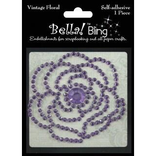Bling Self-Adhesive Rhinestone Vintage Floral-Purple - Purple