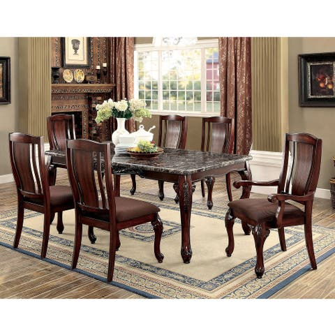Furniture of America Ling Traditional Brown 7-piece Dining Table Set