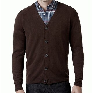 Weatherproof NEW Espresso Brown Mens Size XL Solid Button Down Cardigan