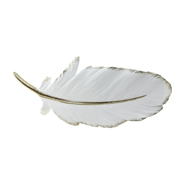 "16"" Gilded White Christmas Feather Shaped Plaque Wall Decor Accent"