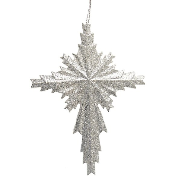 Winter's Beauty Silver Glitter Cross Christmas Ornament