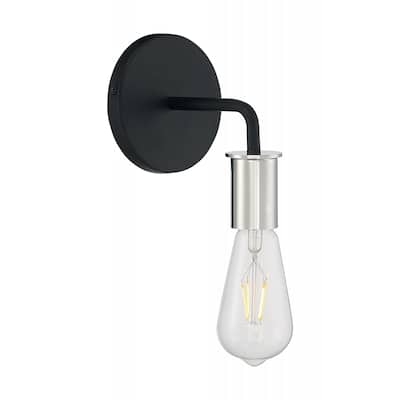 Ryder - 1 Light Sconce with- Black and Polished Nickel Finish