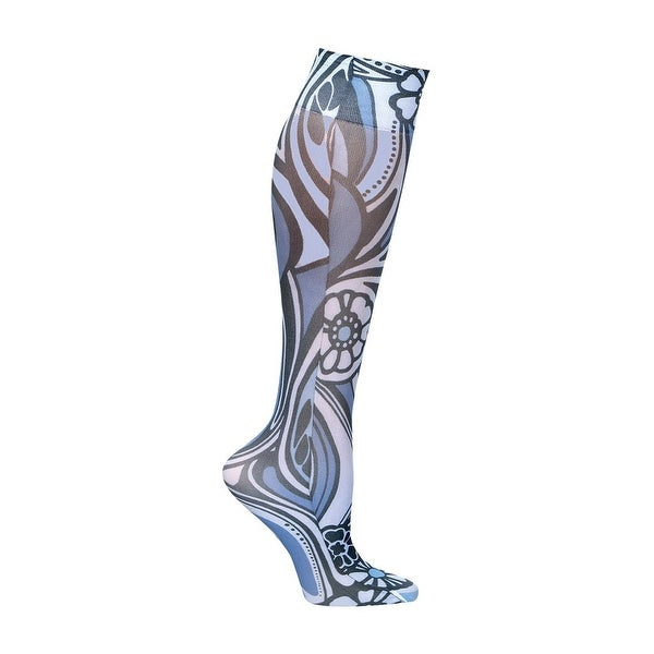Women's Mild Compression Printed Knee High Stockings - Shades of Blue Set of 3 Asst