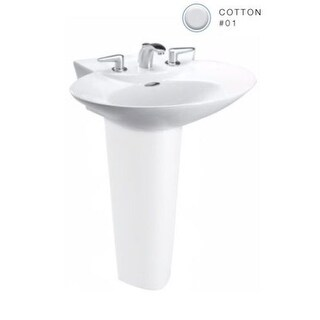 "Toto LT908 Pacifica 25-5/8"" Pedestal Bathroom Sink with Single Faucet Hole Drilled and Overflow - Less Pedestal"