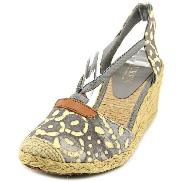 Lauren Ralph Lauren Cala Women Open Toe Canvas Gray Wedge Heel