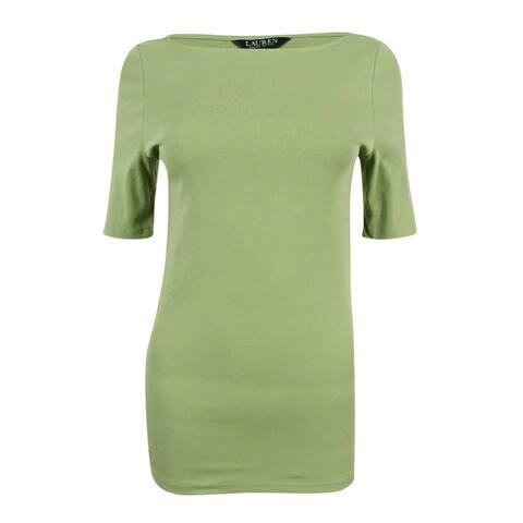 Lauren Ralph Lauren Women's Stretch-Cotton T-Shirt (True Sage, M) - True Sage - M