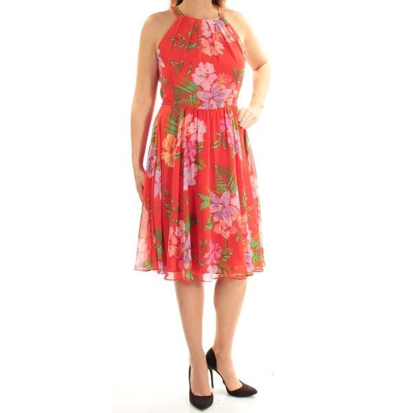 Shop Inc Womens Orange Floral Sleeveless Halter Knee