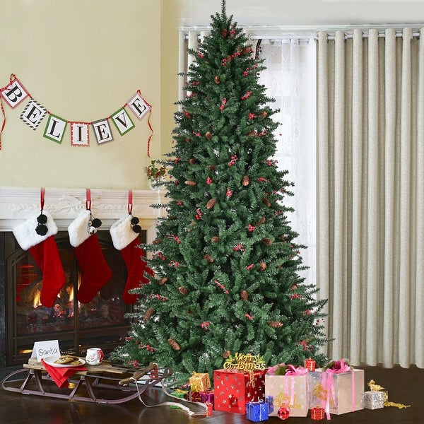 costway 8ft artificial pvc christmas tree 2528 tips green wpine cones red - Red Berry Christmas Tree Decorations