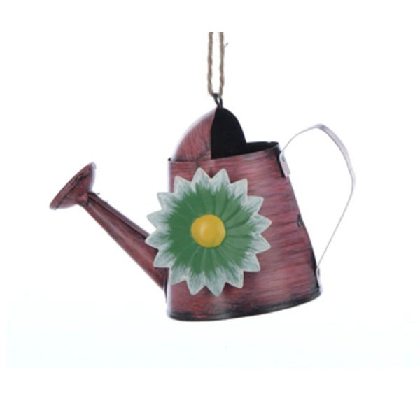 "4"" Pink Garden Watering Can with Flower Christmas Ornament"