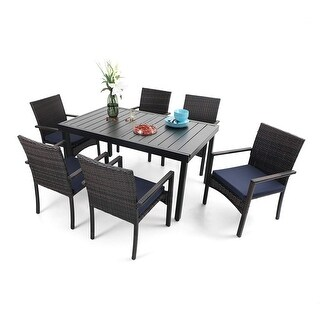 Link to PHI VILLA  Seats of 6 & 8 Outdoor Dining Table Sets, Expandable Rectangular Metal Dining Table and 6 Rattan Chairs Similar Items in Patio Furniture