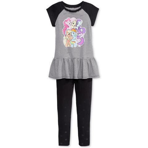 My Little Pony Girls 2-Piece Graphic T-Shirt, Black, 2T