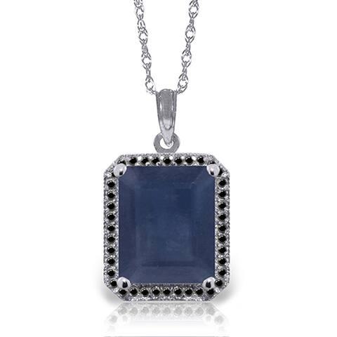 6.60 Carat 14K Solid Gold Necklace w/ Black Diamonds & Sapphire