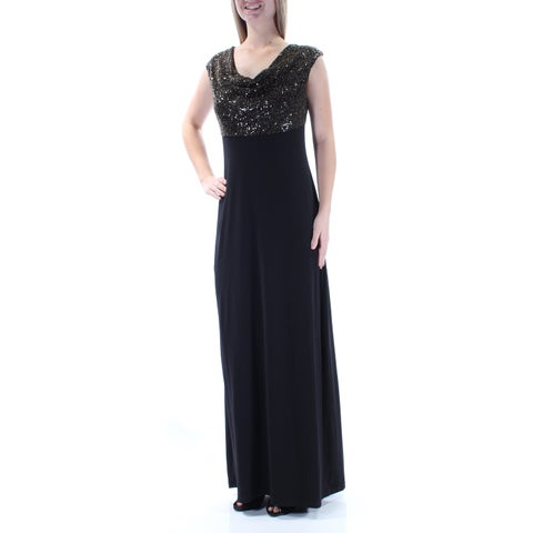 CONNECTED Womens Black Sequined Cap Sleeve Scoop Neck Full Length Sheath Formal Dress Size: 8