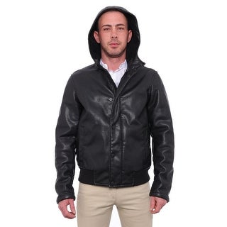 Kenneth Cole Reaction  Faux-Leather Hooded Jacket Basic Jacket